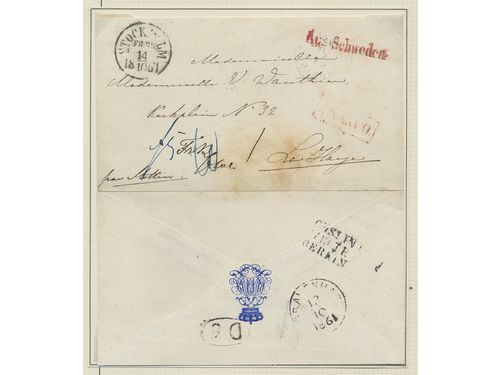 Autographs, Sweden. LOVISA (Louise)(1828-1871). Queen consort of Sweden and Norway as the wife of King Karl XV, born princess of the Netherlands. Unfranked cover, cancelled STOCKHOLM FR:BR 14.10.1861, (front and back put together) in the Queen's own hand, addressed to her former governess in Haag, the Netherlands.