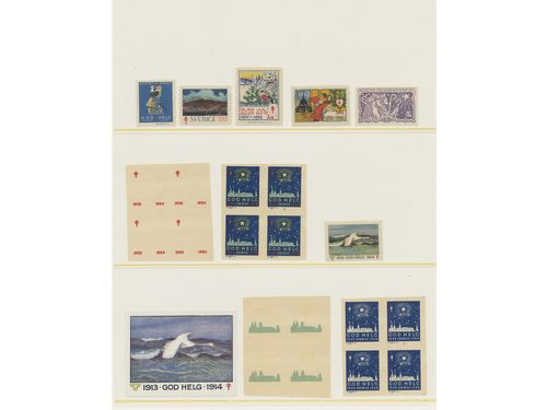 Sweden. Lot **/* 1904–1944. SvNf Christmas seals, e.g. imperforate block's, progressive printing proofs and some