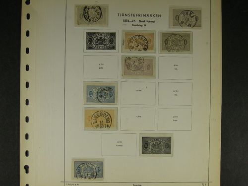 Sweden. Collection used officials and postage dues 1874–1919 on leaves. Incl. some cancellations and one L19 with carton paper. (80)