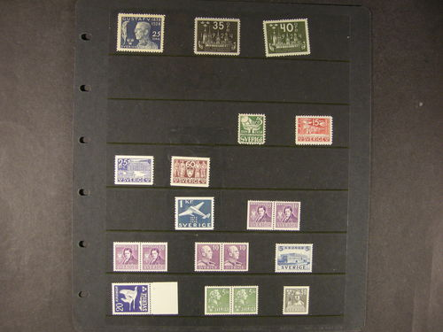 Sweden. **. Lot very fine quality, better issues : 230, 202-03, 238l 241C, 243, 245, 257, 369BC, 320BC/CB, 332C, 337C, 324BC, 327. (15)
