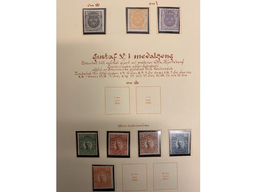 Sweden. **. Collection 1889–1974 in Estett album + leaves in two binders incl. better Coil stamps and 1924 issues, some OscarII, etc.