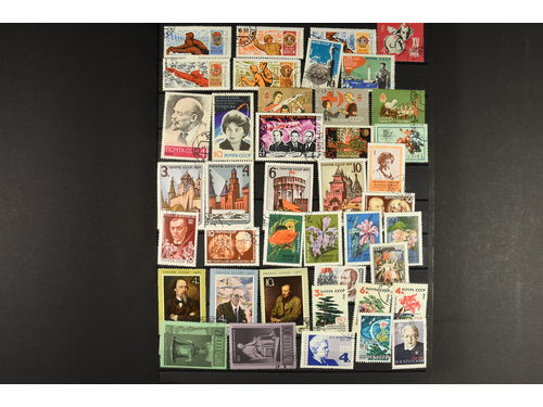 Russia. Collection/accumulation used 1961–1980 in stockbook, with emphasis on the period 1961–1975. Stamps can occur in duplicate as the material is an aggregation from hundreds of glassine envelopes. Mostly fine quality. (>1000)