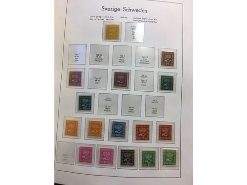 Sweden. Collection mostly ** 1886–1992 in two Leuchtturm albums with stamp mounts, e.g. 1936 Tercentenary of the Post Office SET (15). Fine quality.
