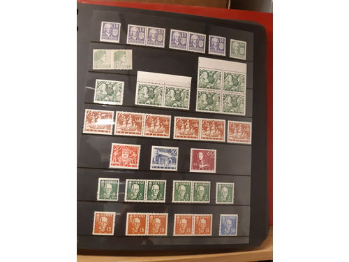 Sweden. Collection mostly ** 1938–1966 in visir album. Incl. a few BC/CB-pairs. Good quality. (500)