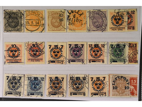 Sweden. Used 1911–1932. Differing watermarks and others. All different, e.g. F 71-74cx, 72v1, 105cx, 111cz, 114cz, 126cx, 126-32cz, 136cz, 235v. Mostly good quality. F SEK 4.980 (19)