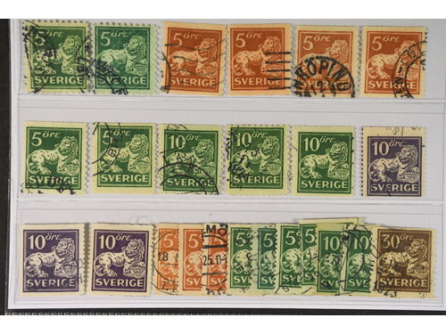 Sweden. Used 1920–34. St.lion. All different, e.g. F 140C+Ccx, 141bz, 142Abz, 142Acc, 142Ecxz, 143Acc+Ecxz, 144Acc+Ccx+Ecx, 145E+Ecx, 146E, 148Acx. Mostly good quality. F SEK 5.730 (24)