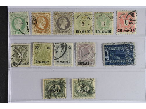 Austria P.O. in Levant. Used 1867–1908. All different, e.g. Mi 2 II, 6 I, 14, 24, Postage Due 10. Mostly good quality. Mi € 261 (13)