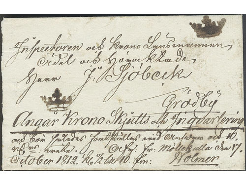 Sweden. Kronopost. Letter with two crown postmarks on very nice letter to Grödby. Notes