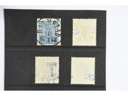 """Sweden. Used. 12 öre blue Coat-of-Arms, """"Exclamation mark"""" variety (pos 53 in late VI), 30 öre brown and 1 kr (2) with parts of two posthorns variety."""
