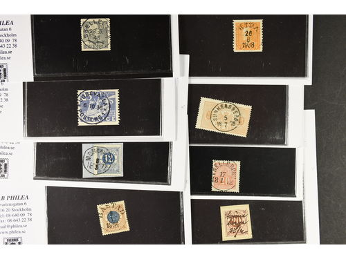 Sweden. Lot used 1870s–1980. Selected stamps with superb-EXCELLENT cancellations, plus one cut piece with F22 with ink manuscript. (15)