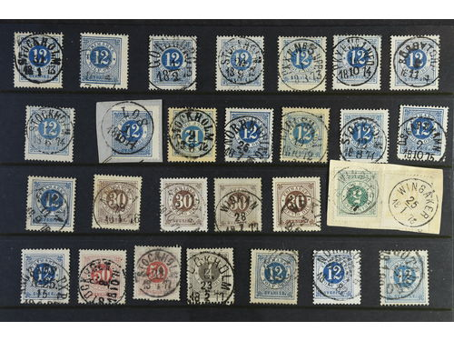 Sweden. Lot used. Circle type, 53 ex. with e.g. several excellent canc..