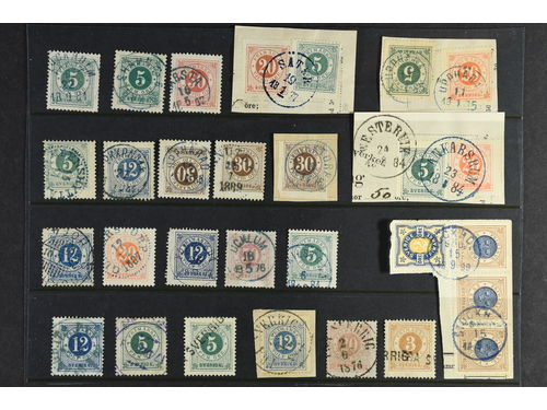 Sweden. Used. Circle type, 28 ex. with coloured postmaks or