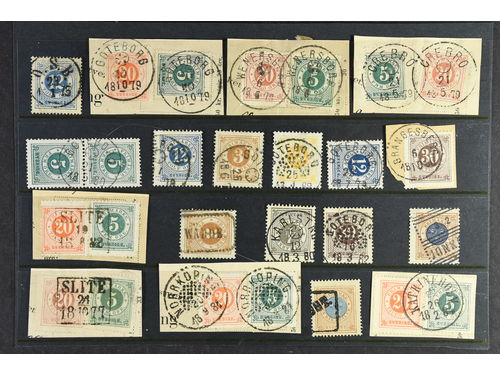 Sweden. Used. Circle type, 64 ex. with nice or odd canc. e.g. exprimental postmarks or.