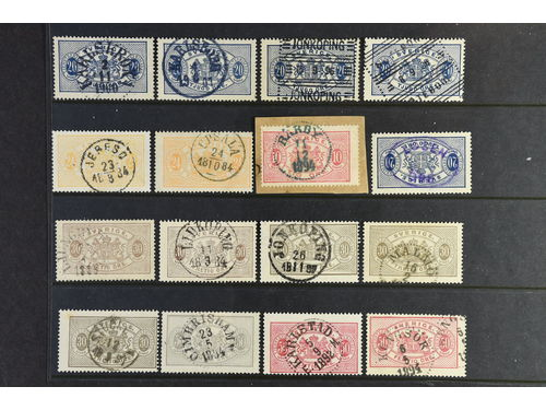 Sweden. Lot mostly used. Official Stamps. Large Size. 46 ex with e.g. unusual canc., variants.