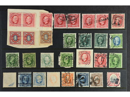 Sweden. Lot mostly used. Oscar II. 117 ex. Selected stamps regarding, among other things, e.g. nice canc., colored, foreign canc., variants etc. Please inspect!