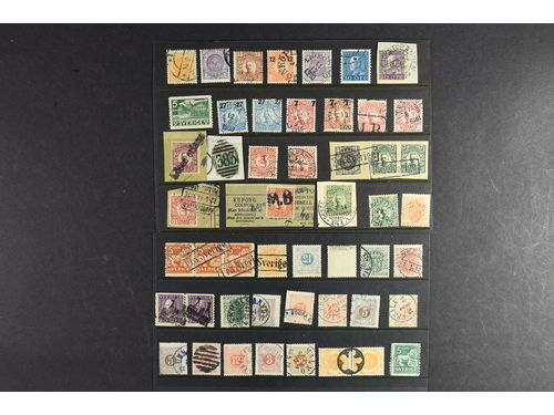 Sweden. Used. Small lot with 50 ex. 1870's-1930's, e.g. inverted wm Tj32vm.