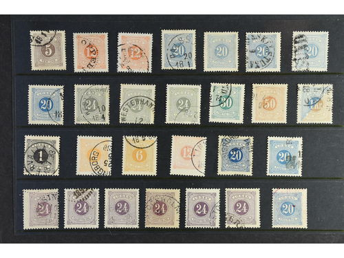 Sweden. Used. 55 Postage Due Stamps with e.g. odd postmarks.