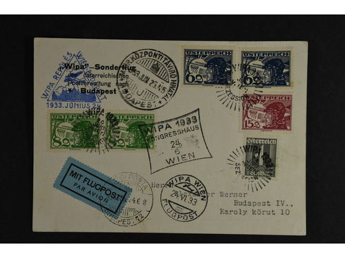 Austria. Michel 470 etc. brev,, WIPA air mail card from WIEN to Budapest, Hungary, 24.6.1933.