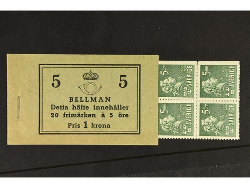 Sweden. Booklet Facit H43BCB **,, 1940 Carl Michael Bellman 20 × 5 öre green, perf on 4+3 sides with postal instructions on cover. Superb quality. SEK7000