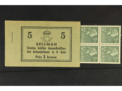 Sweden. Booklet Facit H43ACB **,, 1940 Carl Michael Bellman 20 × 5 öre green, perf on 4+3 sides with Bellman history on cover. Superb quality.