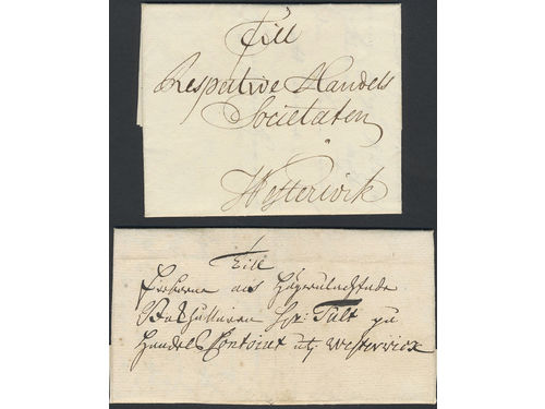 Sweden. Förfilateli. Four letters sent to Västervik between 1749 and 1750. Good quality. (4)
