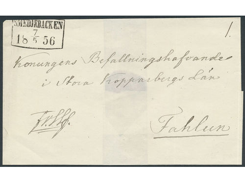 Sweden. W-län. SMEDJEBACKEN 7.5.1856, fyrkantstämpel. Type 3 on cover sent during the skill bco stamp period to Falun.