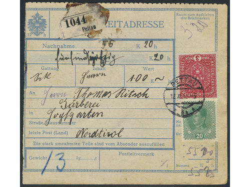 Austria. Michel 205 I, 222 brev,, 3 Kr together with 20 h on address card for insured C.O.D. parcel sent from PETTAU 12.XI.17 to HOPFGARTEN 15.XI.17. Postage due 5 h at back. EUR250