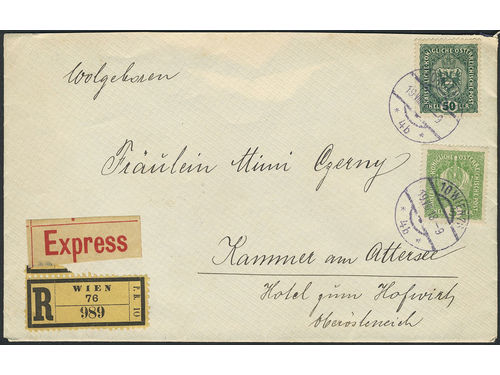 Austria. Michel 185–86, 189, 195 brev,, 3+5+12+50 h on registered express cover sent from WIEN 19.VIII.18.