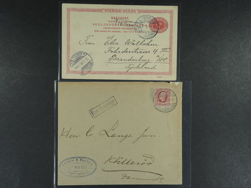 Sweden. DENMARK, . Danish TPO cancellation KJØBENHAVN HELSINGBORG T420, together with boxed cancellation FRA SVERIGE, on six Swedish postal items, of which two covers and four postcards. Sent to Denmark, Germany and France, respectively. (6).