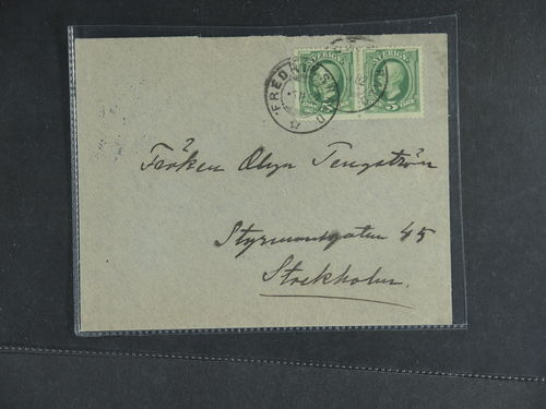 Sweden. Facit 52. NORWAY, . Norwegian town cancellation FREDRIKSHALD 5.11.1902, on 2×5 öre Oscar II in pair, on cover sent to Sweden. Interesting cover, sent on the Præstebakke–Mellerud route, either tolerated with foreign franking, or posted in Sweden in train mail box Norway bound. Transit TPO PKXP No 44 5.2.1902 and arrival cancellation STOCKHOLM Ö 1.TUR 6.02. Scarce.