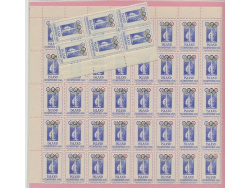 Iceland. Seal **,, Olympic Games 1948. Part of sheet with 40 seals + ditto block of six.