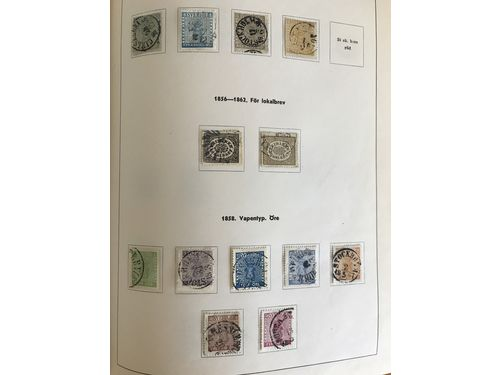 Sweden. Used. Collection 1855-1949 in E.W. Larsson album incl. 3-8skill(def/rep), cpl F6-91, cpl Landstorm and 1924-years, good Coil stamps incl. 175cx(missing perf), cpl Officials and Postage dues etc. F ca 150000. Partly mixed qual.