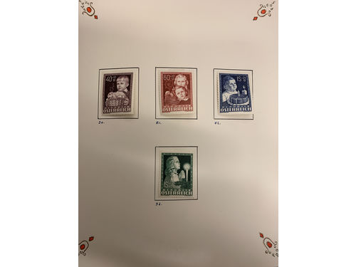 Austria. *. Collection 1946-67 in two albums. Early part somewhat climate-affected but e.g. a nice set Birds 1953 etc.