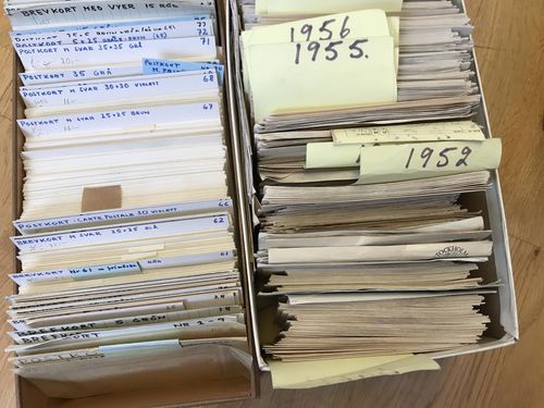 Sweden. Used. Box with about 580 Postal stationeries used-unused incl. some other countries. Also 100's of covers with Temporary Post Offices mostly 1947-78.