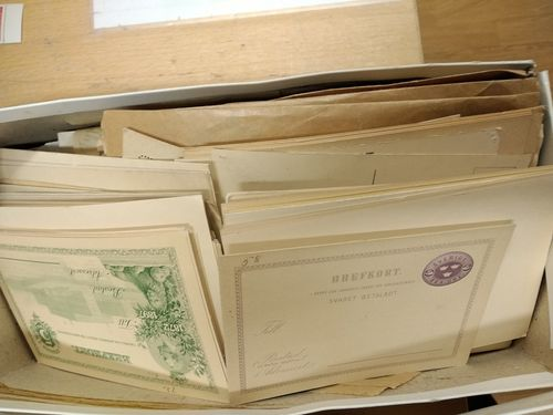 Sweden. Used. Shoebox full of sorted 1920's and over 100 stationery, old, unused'.