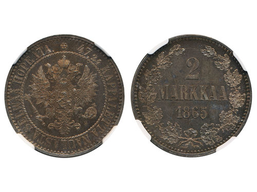 Coins, Finland. Alexander II, KM 7.1, 2 markkaa 1865. Nicely toned example. Graded by NGC as MS63. Bitkin 617. 01/0.