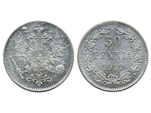 Coins, Finland. Nicholas II, KM 2.2, 50 penniä 1911. Lustrous example with minor planchet flaw. Bitkin 404. 0.