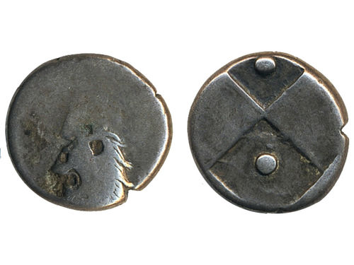 Coins, Ancient Greek coins. Sear 1602, hemidrachm ND (400-350 BC). Thrace. 2.31 g. Obv: Head of lion facing left. Rev: quadripartite incuse square. SNG Cop 830. F-VF.