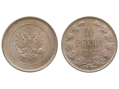 Coins, Finland. Republic, KM 18, 10 penniä 1917. Beautiful lustrous example of this one year type. 01/0.