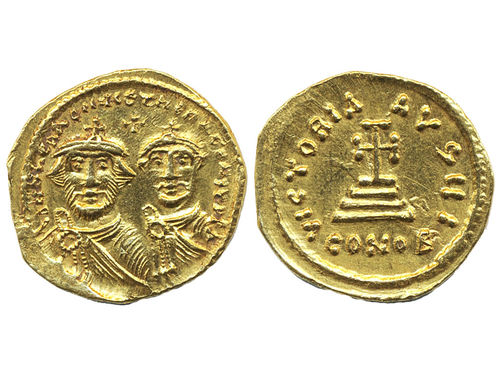 Coins, Ancient Byzantine empire. Sear 743, solidus. 4.41 g. Constantinople mint. Facing busts of Heraclius and Heraclius Constantine)(cross potent on tree steps. Ex Antikören. VF-XF.