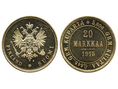 Coins, Finland. Nicholas II, KM 9.2, 20 markkaa 1913. S. Beautiful example with prooflike fields, some contact marks. 01/0.