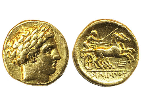 Coins, Ancient Greek coins. Macedon. Philip II (359-336 BC). AV Stater, 8.38 g.  Amphipolis mint. Laureate head of Apollo right /  Charioteer driving biga right, trident below. VF/Good VF.