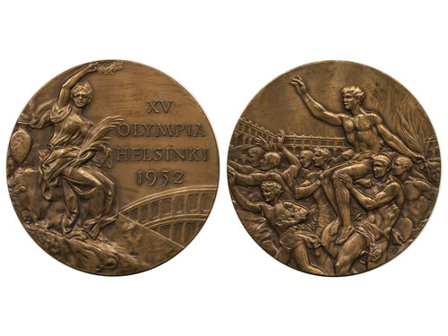 Medals, non-regal, Finland. XV Olympic Games Helsinki 1952. Bronze prize medal. Seated Victory/Victorious athlete (51 mm), 59.05 g. Scarce! Ex. Myntkompaniet 11 lot 618. 01.