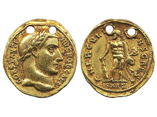 Coins, Ancient Roman empire. aureus. 5.32 g. Obv: Laureate bust of Constantin I and text CONSTANTINVS NOB CAES. Rev: Standing Hercules facing, looking left, HERCULI (C)ONS CAES. SMAE in exergue. Pierced twice. Rare. VF.