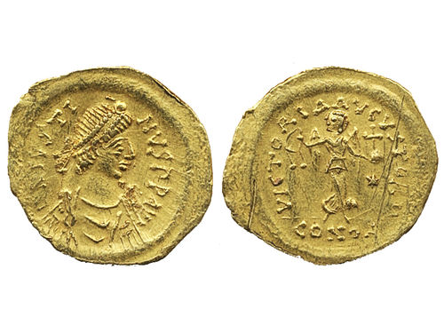 Coins, Ancient Byzantine empire. AU tremissis. 1.47 g.  Obv: Diademed, draped and cuirassed bust of Justinian I right. Rev: VICTORIA AVGVSTORVM, Victory advancing right, head left, holding wreath and globus cruciger; to righ, star; mint mark CONOB in exergue. Reverse scratches. VF-XF.