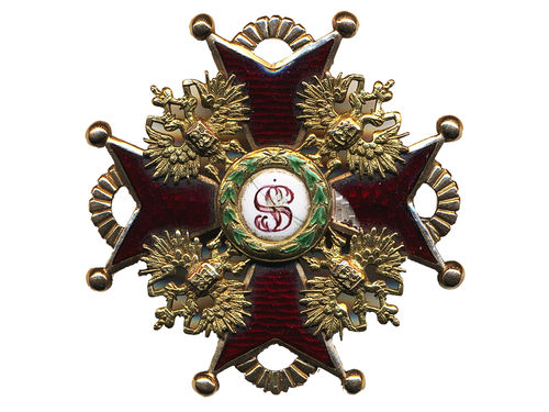 Orders, Russia. Order of Saint Stanislaus second class badge, 48 mm. Some enamel damage on the left part of the cross. Werlich 1103.