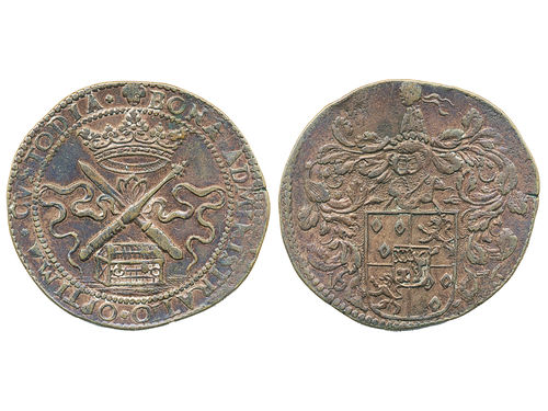 Tokens, Netherlands. Dugn. 4364, copper jeton ND(1676). 6.63 g. Brussels mint. J. Madoets. Nice example with some hints of lustre. XF.
