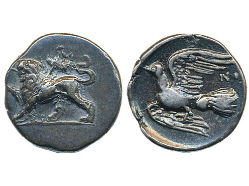 Coins, Ancient Greek coins. AR hemidrachm (4th Century). Sikyonia. 2.69 g. Obv:  Chimaira standing left with letters EI between legs. Rev: Dove flying left with letter NO.  SNG Copenhagen 59–60 (NO). VF-XF.
