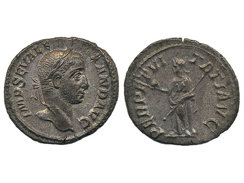 Coins, Ancient Roman empire. RIC IV 169, AR denarius. 3.16 g. Obv: IMP C M AVR SEV ALEXAND AVG, laureate and draped bust to right. Rev: PERPETVITATI AVG, Perpetuitas standing facing, head to left leaning on column, holding globe and transverse sceptre. Attractive example with some lustre. XF.