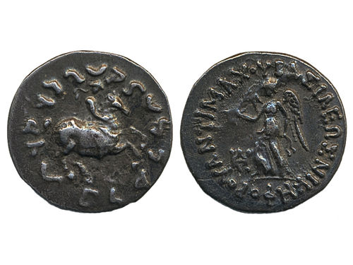 Coins, Ancient Greek coins. AR drachm. Bactrian Kingdom. 2.44 g. Obv: BASIAEOS NIKHFOPOY ANTIMAXOY, Nike advancing left with wreath and palm. Rev: King on horseback right, legend in karoshti around. Mitchiner, Indogreek 135a; SNG ANS 424. VF-XF.